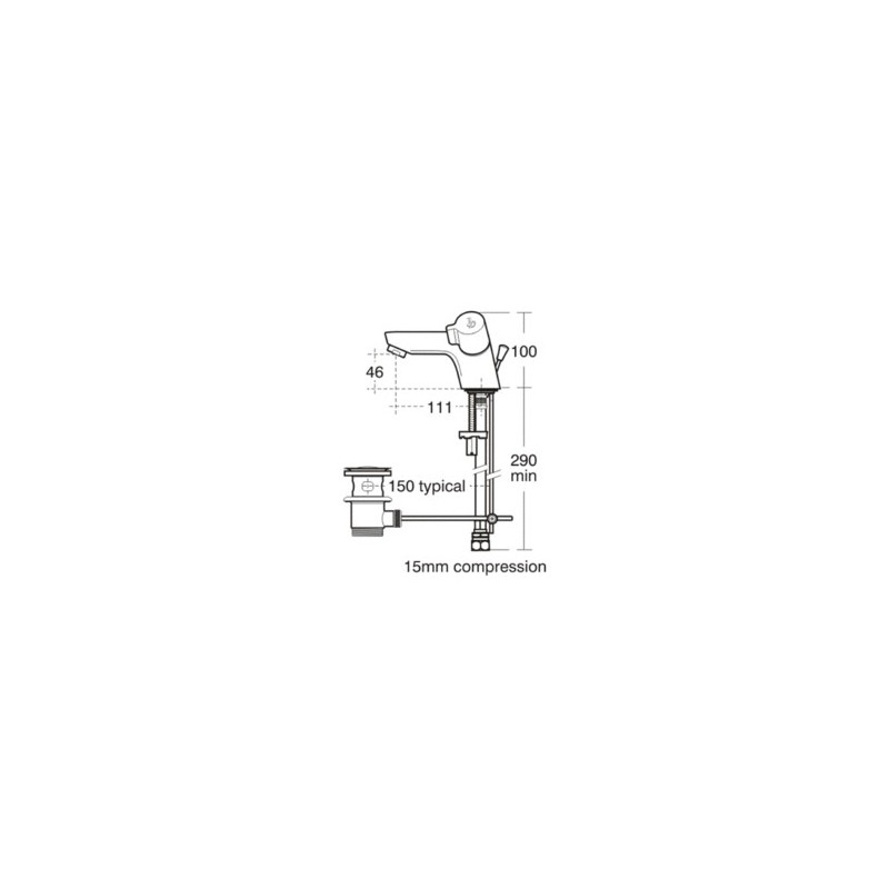 Ideal Standard Alto Dual Control Basin Mixer with Waste B9673