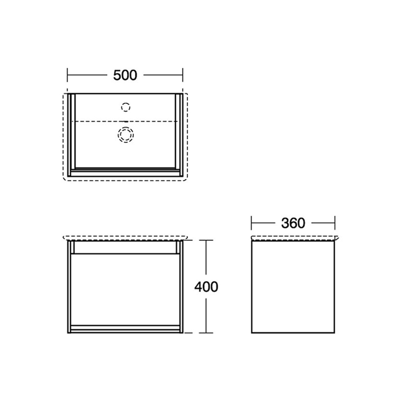 Ideal Standard Concept Air 500mm Vanity Unit E0817 Grey/White