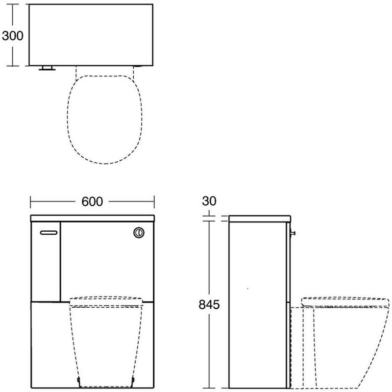 Ideal Standard Concept Space 600mm WC Unit LH E1437 Elm