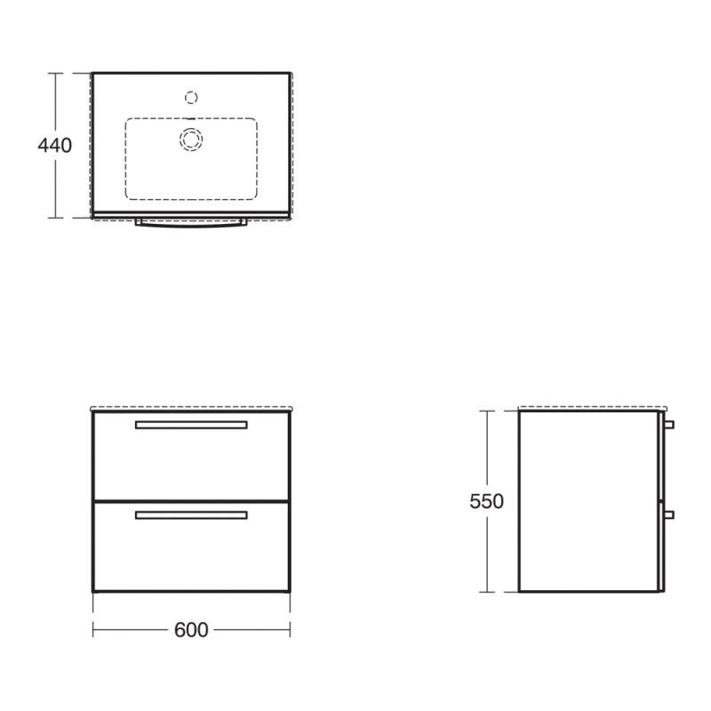 Ideal Standard Tempo 600mm Vanity Unit 2 Drawer E3240 White