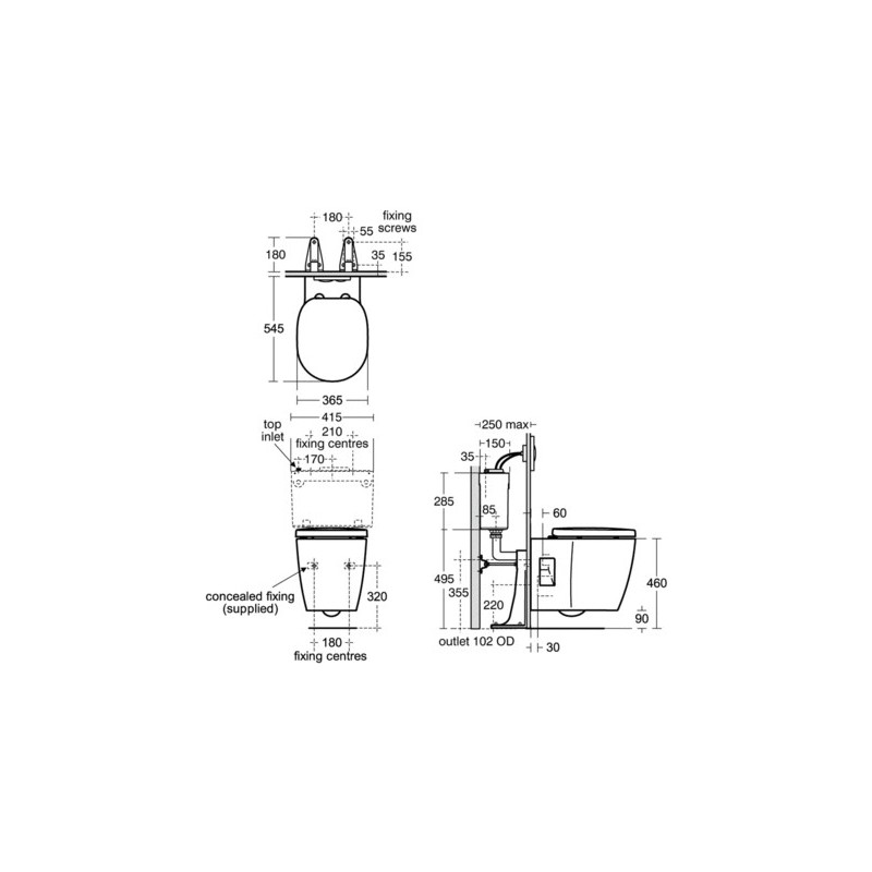 Ideal Standard Concept Freedom Wall Hung Toilet with Slow Close Seat