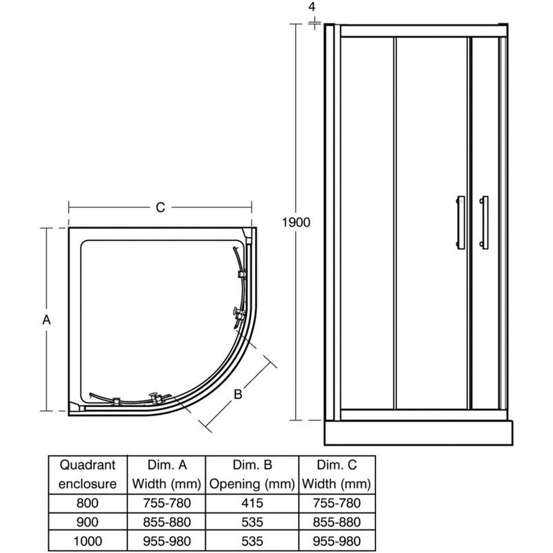 Ideal Standard Synergy 1000mm Quadrant Enclosure L6285 Silver