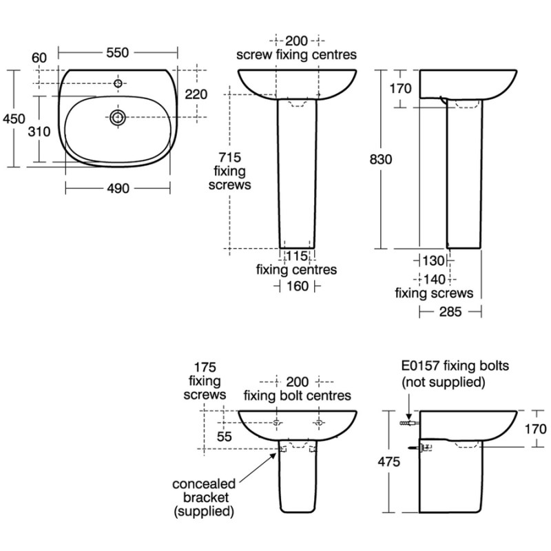 Ideal Standard Tesi 55cm Washbasin 1 Hole T0280 White