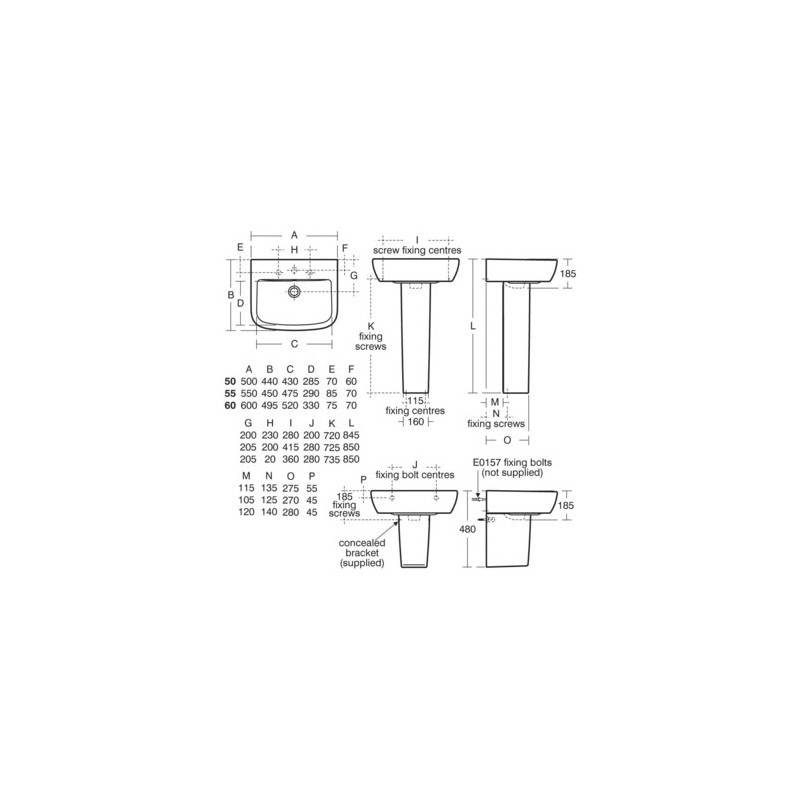 Ideal Standard Tempo 60cm Washbasin 1 Taphole T0584