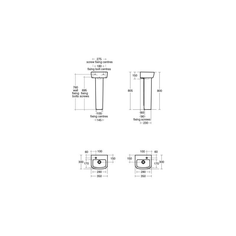 Ideal Standard Tempo 35cm Handrinse Basin 1 Right Taphole T0597