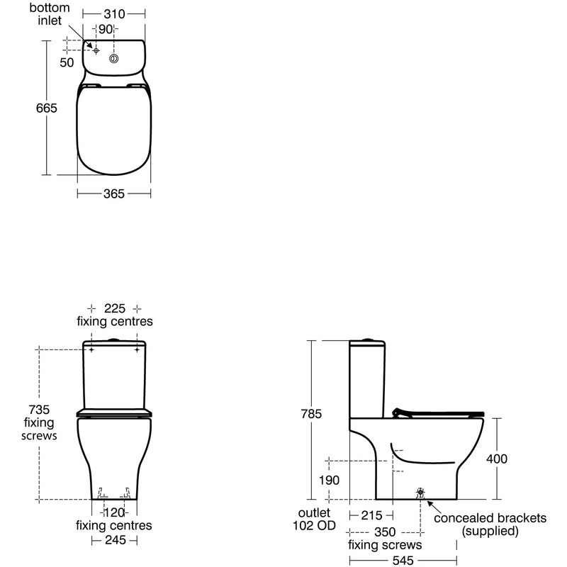 Ideal Standard Tesi Aquablade Close Coupled Cistern 6/4 Litre