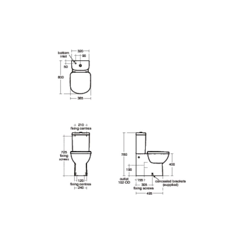 Ideal Standard Tempo 6/4 Litre Close Coupled Cistern T4270