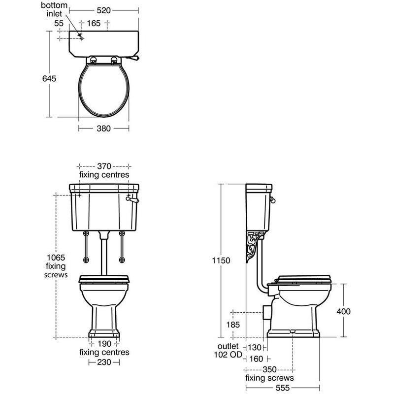 Ideal Standard Waverley Low Level Cistern with Flushpipe U4714