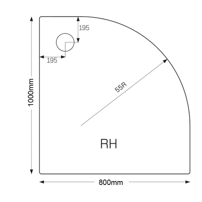 Just Trays Ultracast 1000x800mm RH Offset Quadrant Shower Tray