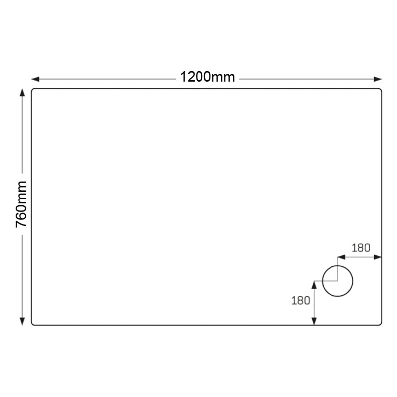 Just Trays Ultracast 1200x760mm Rectangular Shower Tray