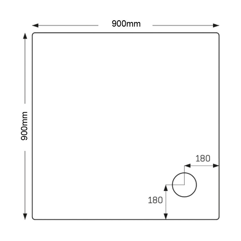 Just Trays Merlin 900mm Square Shower Tray