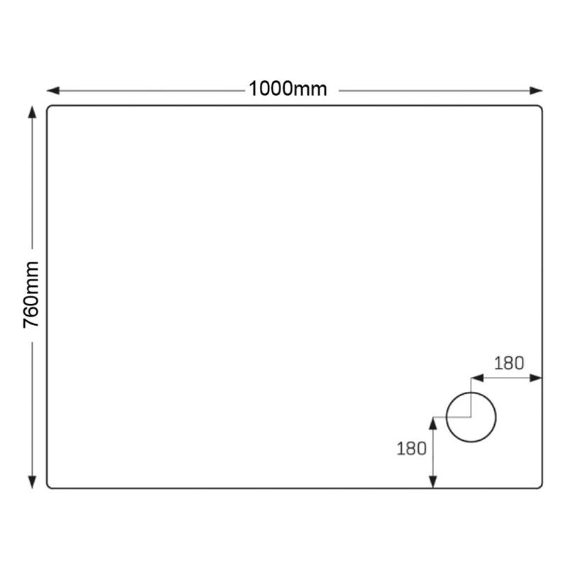 Just Trays Merlin 1000x760mm Shower Tray 4 Upstands Anti-Slip