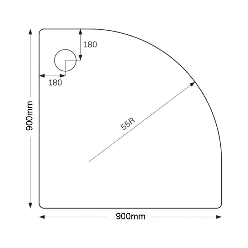 Just Trays Merlin 900mm Quadrant Shower Tray Anti-Slip