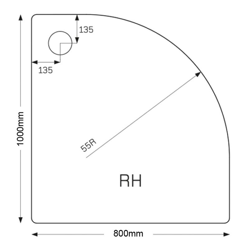 Just Trays Fusion 1000x800mm Offset Quadrant RH Anti-Slip Tray