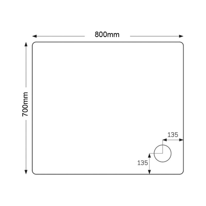 Just Trays Fusion 800x700mm Rectangular Shower Tray Anti-Slip