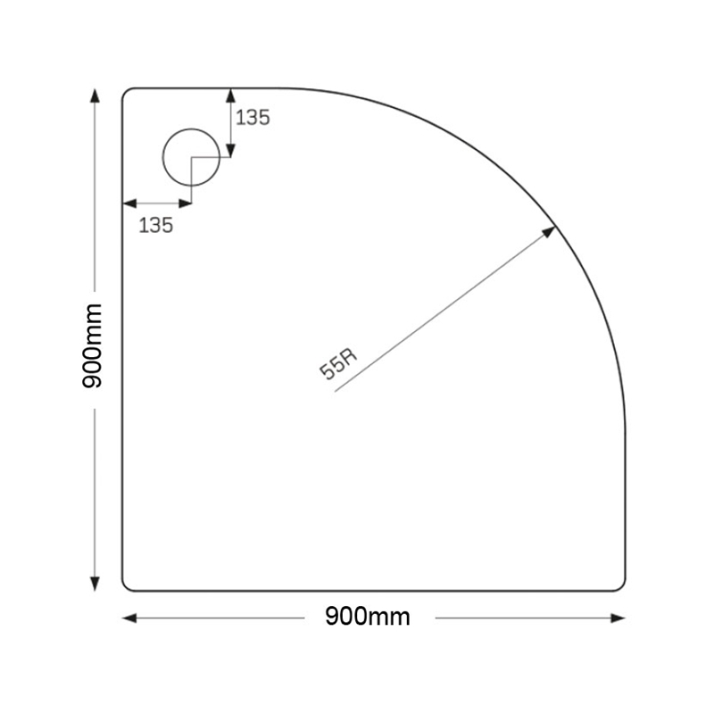 Just Trays Fusion 900mm Quadrant Tray 2 Upstands Anti-Slip