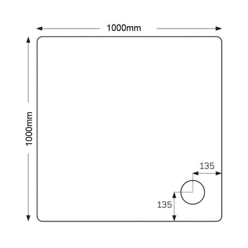 Just Trays Fusion 1000mm Square Shower Tray