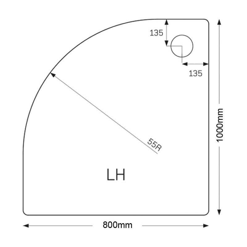 Just Trays Fusion 1000x800mm Offset Quadrant LH Tray