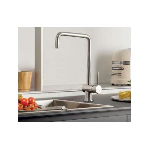 Newform X-T Mono Sink Mixer with Square Spout Brushed Steel