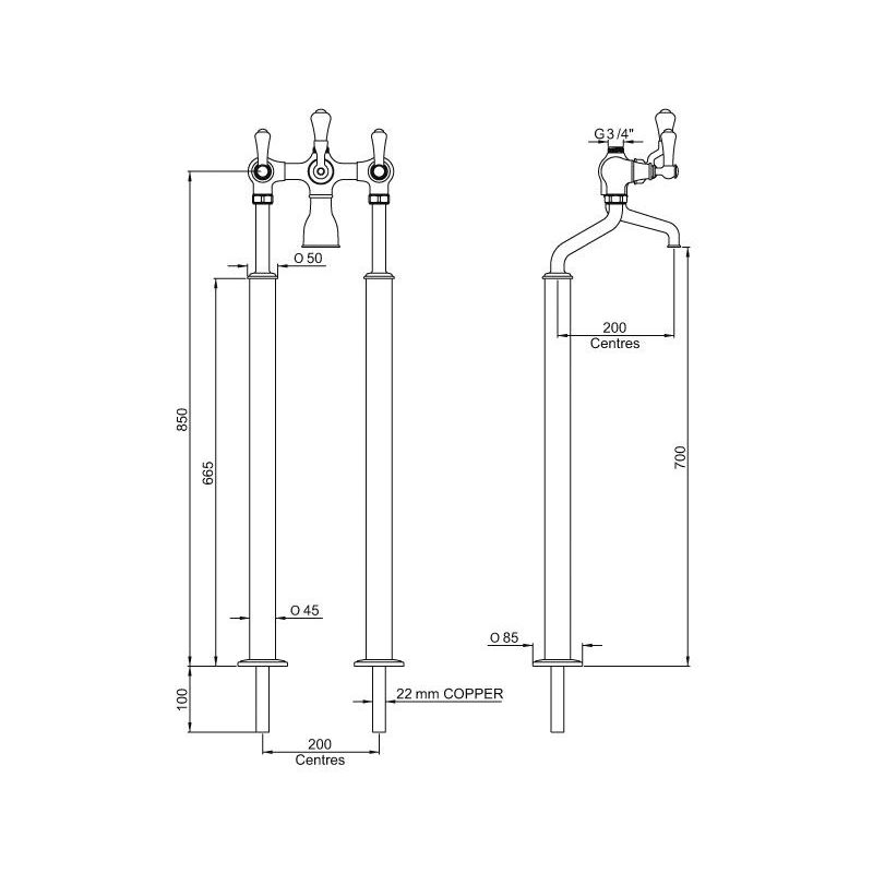 Perrin & Rowe Georgian Floor Bath Shower Mixer, Lever