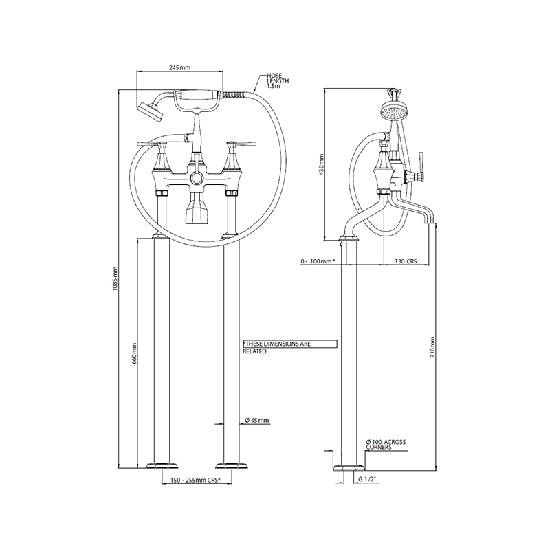 Perrin & Rowe Floor Bath Shower Mixer, Lever