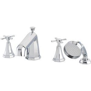 Perrin & Rowe Deco Crosstop 4 Hole Bath Shower Mixer Nickel