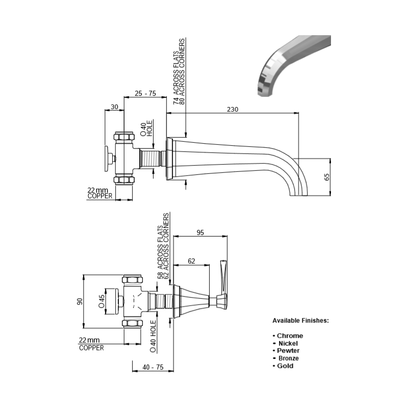 Perrin & Rowe Deco Wall Mounted Bath Filler, Lever