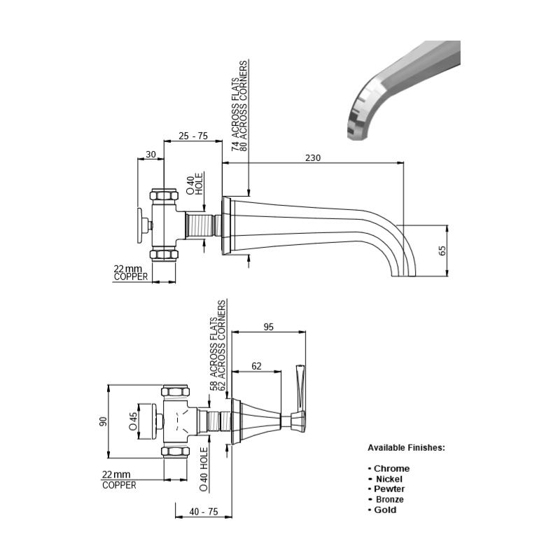 Perrin & Rowe Deco Lever 3 Hole Wall Bath Filler Nickel