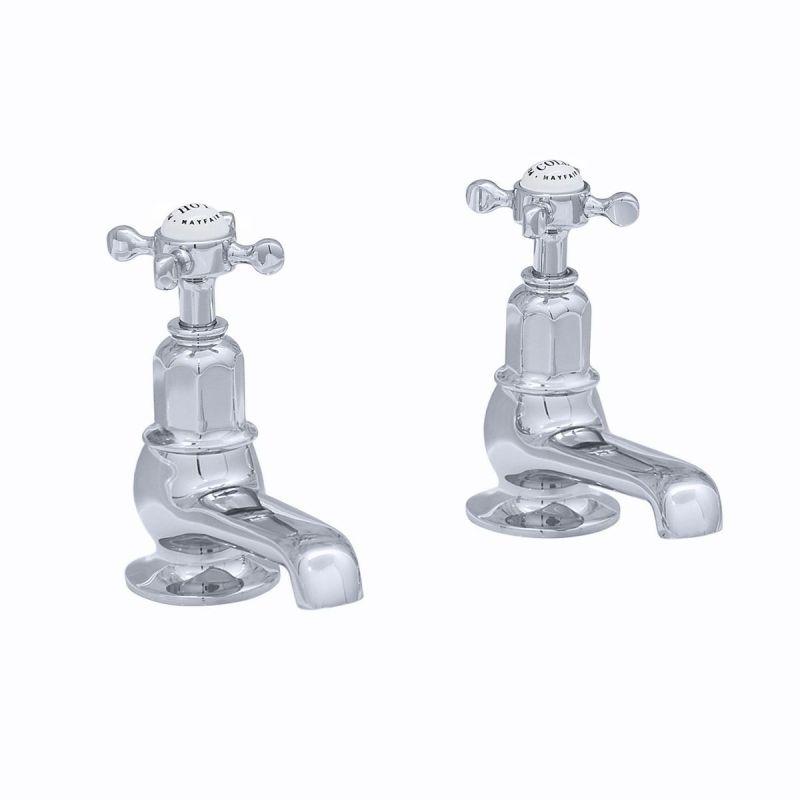 Perrin & Rowe Pair of Bath Taps with Crosshead Handles Chrome
