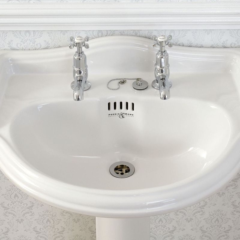 Perrin & Rowe Pair of Basin Taps with Crosshead Handles Chrome