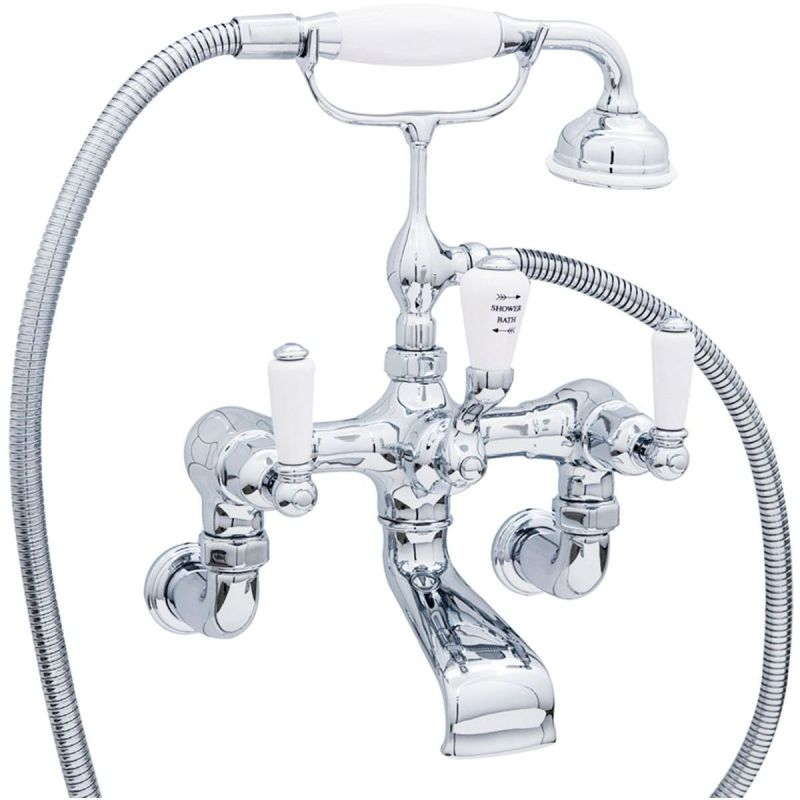 Perrin & Rowe Traditional Lever Wall Bath Shower Mixer Pewter