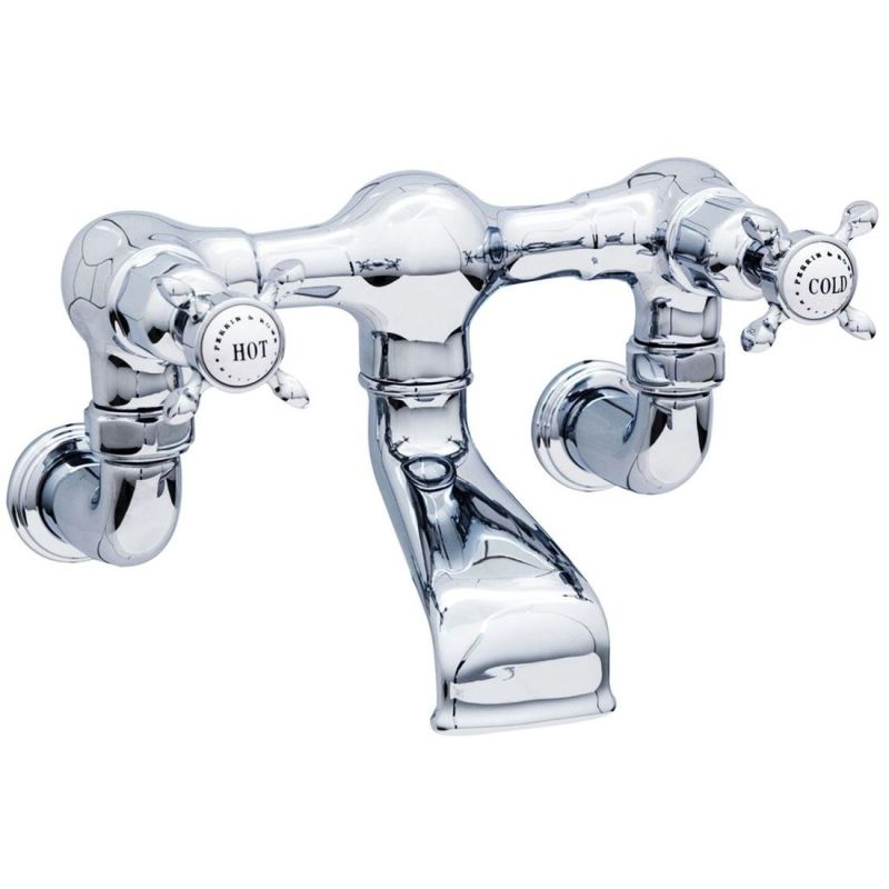 Perrin & Rowe Bath Filler Crosshead Handles & Wall Unions Pewter