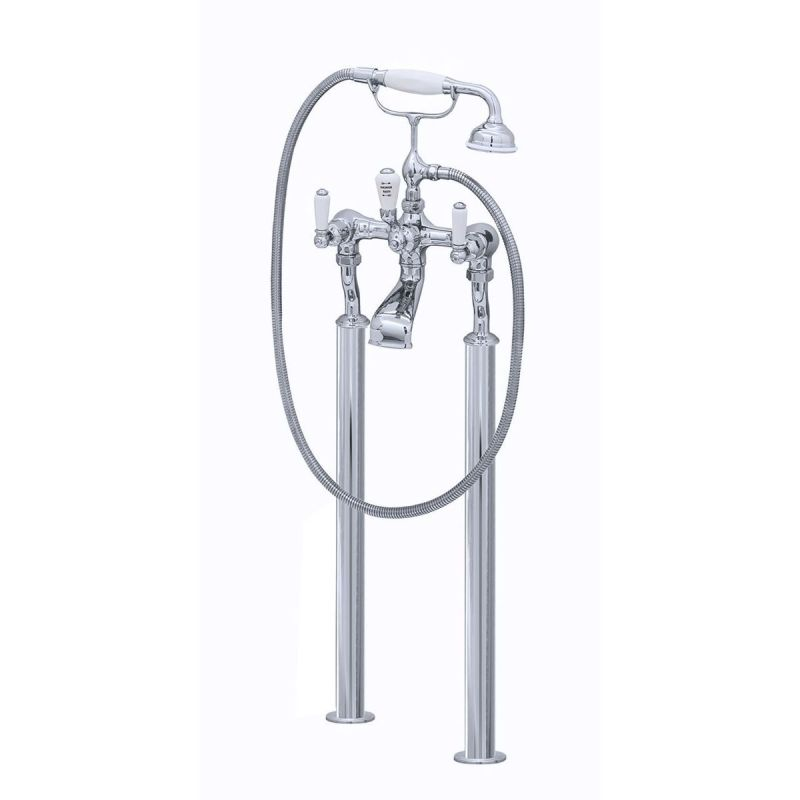Perrin & Rowe Traditional Lever Floor Bath Shower Mixer Pewter