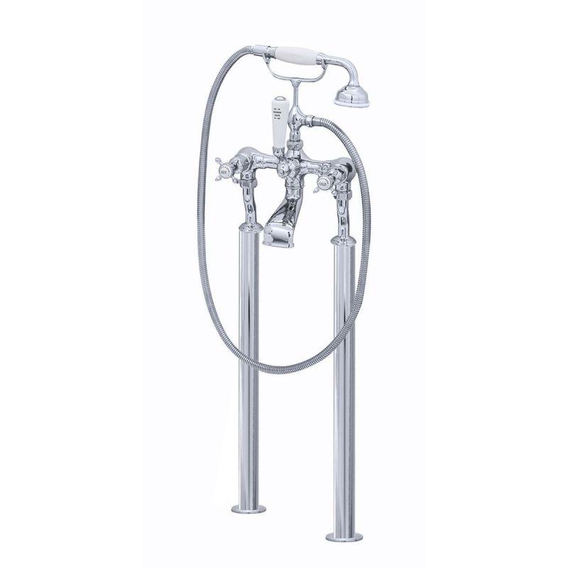 Perrin & Rowe Traditional Crosstop Floor Bath Shower Mixer Nickel