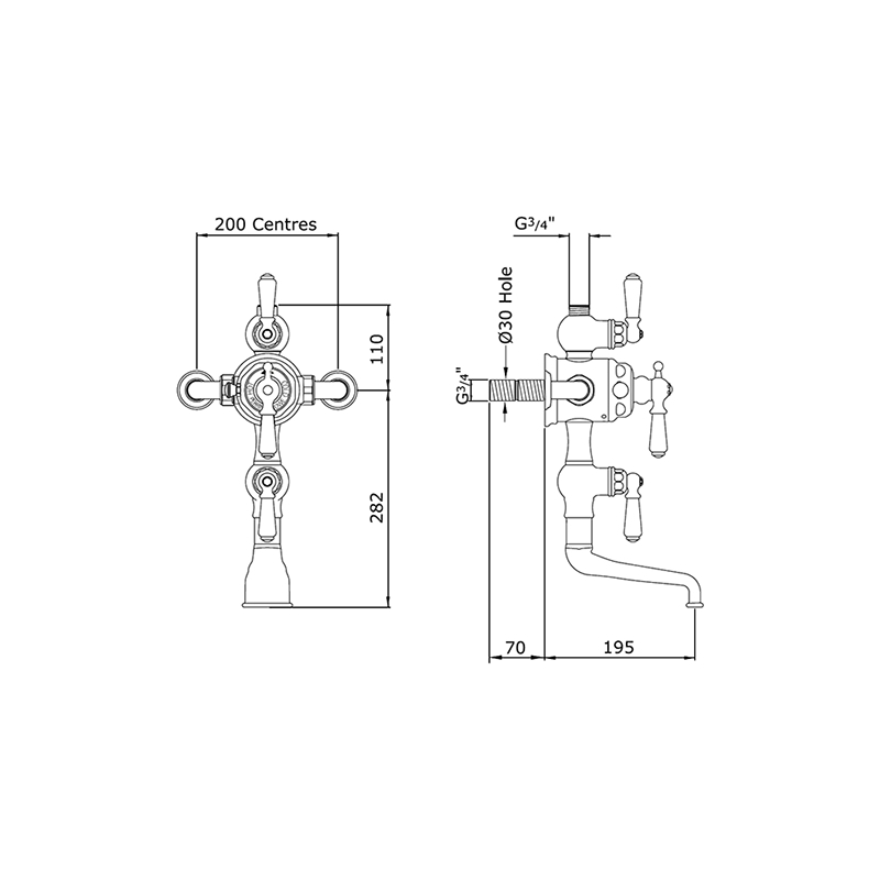 Perrin & Rowe Thermostatic Bath Shower Mixer with Lever Handles