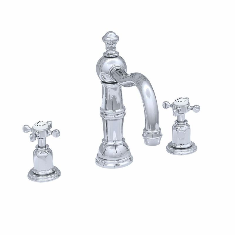 Perrin & Rowe 3 Hole Crosshead Basin Set Country Spout Chrome