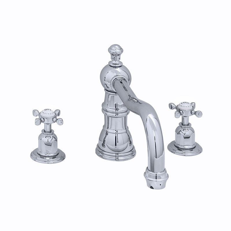 Perrin & Rowe 3 Hole Crosshead Bath Mixer Country Spout Gold