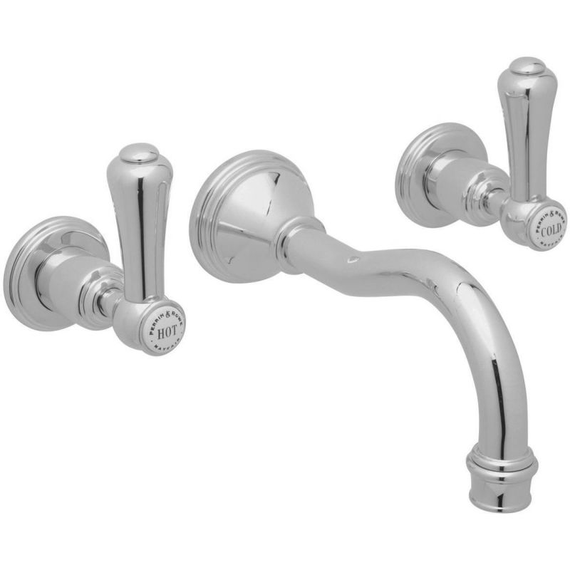 Perrin & Rowe Georgian Lever 3 Hole Country Spout Wall Basin Mixer Nickel