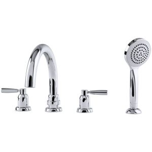 Perrin & Rowe Contemporary Lever 4 Hole Tubular Spout Bath Set Pewter