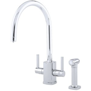 Perrin & Rowe Rubiq Sink Mixer with C Spout & Rinse Chrome