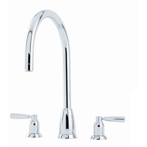 Perrin & Rowe Callisto Lever 3 Hole Sink Mixer C Spout Pewter