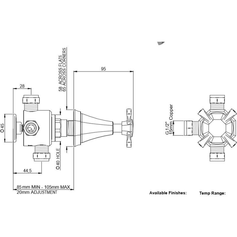 Perrin & Rowe Deco 3 Way Diverter with Crosstop Handle Pewter