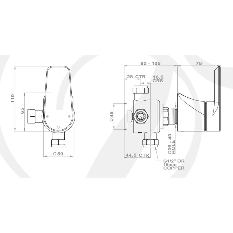 Perrin & Rowe Hoxton 3 Way Diverter with Shut-Off Nickel