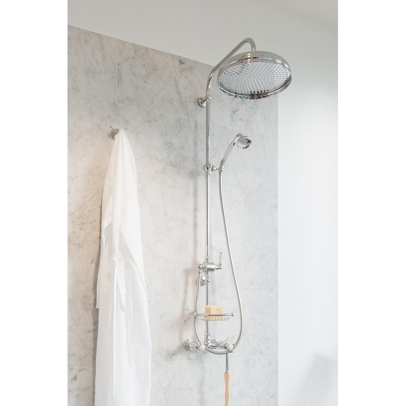Perrin & Rowe 2 Handle Crosshead Shower Mixer Up Outlet Pewter