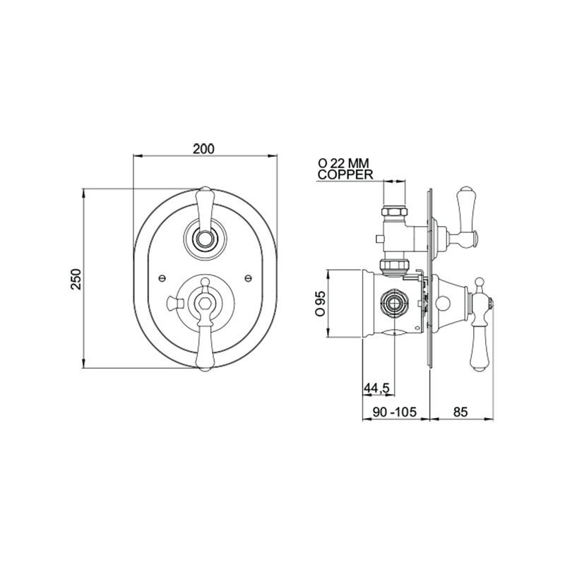 Perrin & Rowe Georgian Lever Concealed Thermostatic Shower, Oval