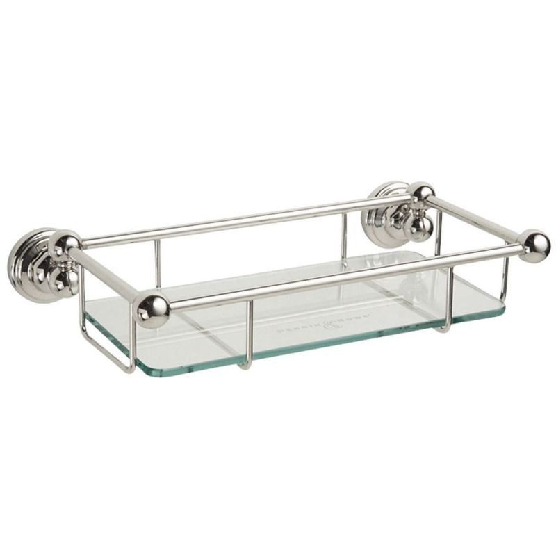 """Perrin & Rowe 10"""" Glass Shelf Chrome"""