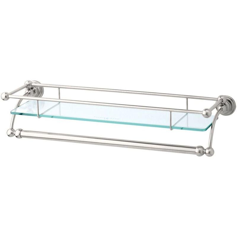 "Perrin & Rowe 20"" Glass Shelf with Towel Rail Nickel"