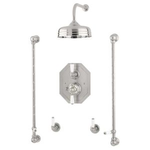 """Perrin & Rowe Traditional Shower Set 5 with 12"""" Rose"""