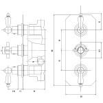 Premier Edwardian Triple Thermostatic Shower Valve