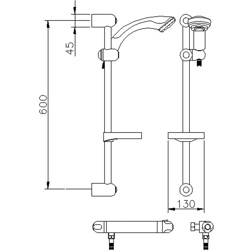 Premier Thermostatic Bar Shower with Kit